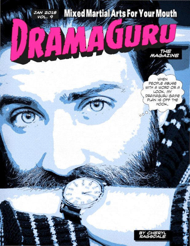 DramaGuru Magazine cover man with beard bluetone Jan 2018