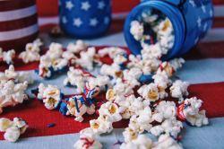 Patriotic Popcorn spilled close up
