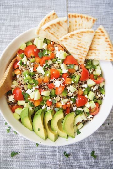 15-Minute-Greek-Quinoa-Bowls-overhead-shot-in-white-bowl