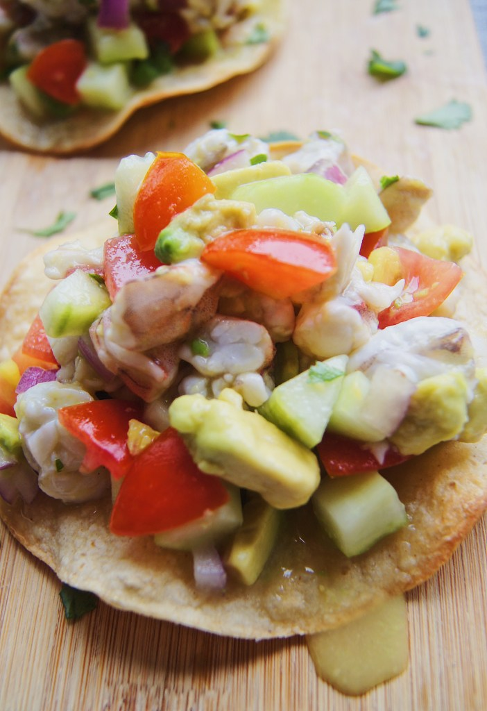 Ceviche front zoom in on tostada on cutting board