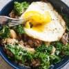 Kale-Bean-and-Sausage-Skillet-egg-yolk-broken-with-fork