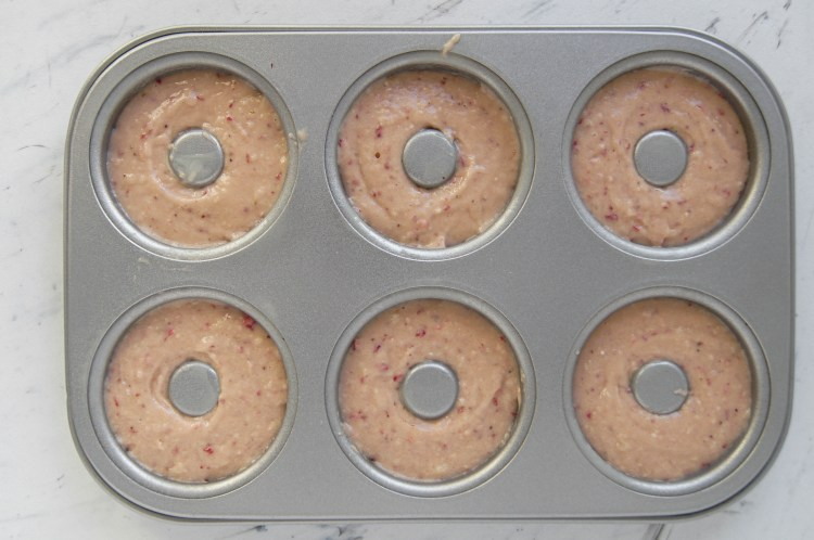 30 Minute Baked Strawberry Donuts before baking in donut pan