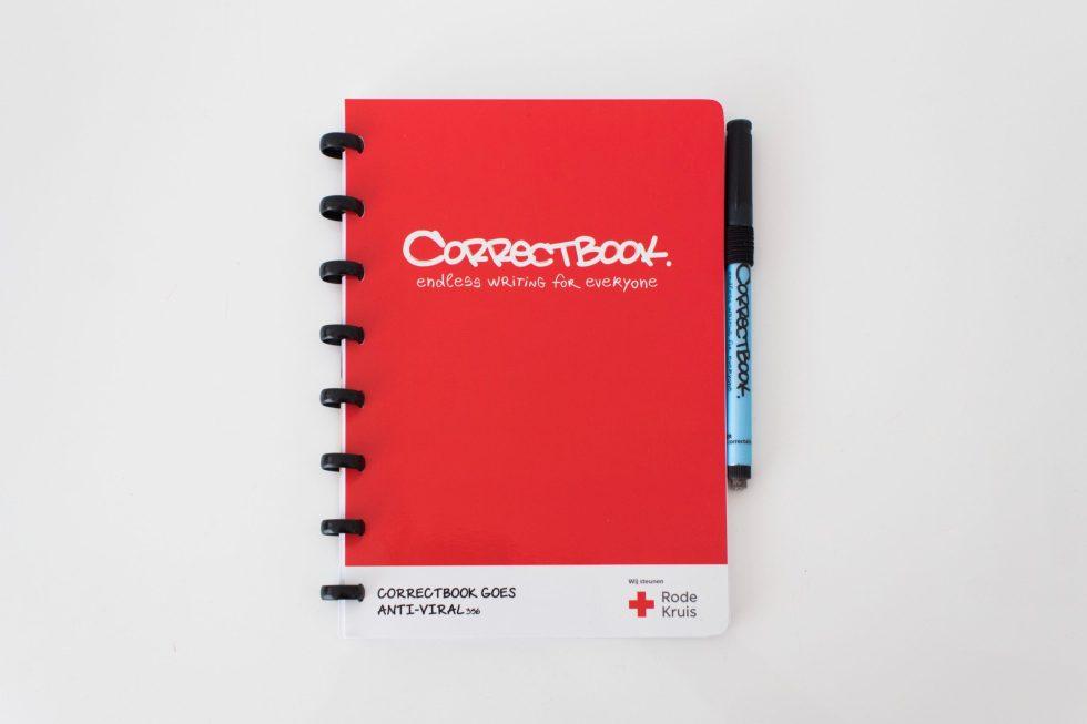Correctbook, Rode Kruis, uitwisbaar notitieboek, duurzaam, analfabetisme, anti-viral, coronavirus, covid-19, goed doel, inzameling, sociale onderneming