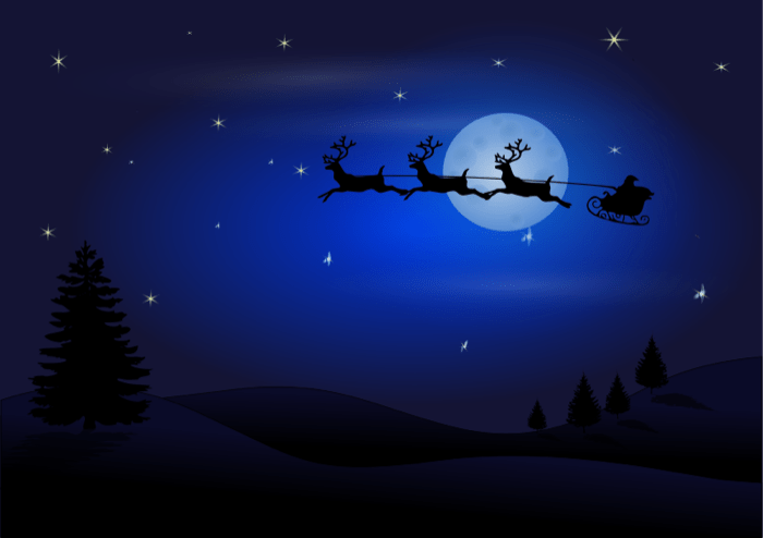 santas sleigh in the night sky