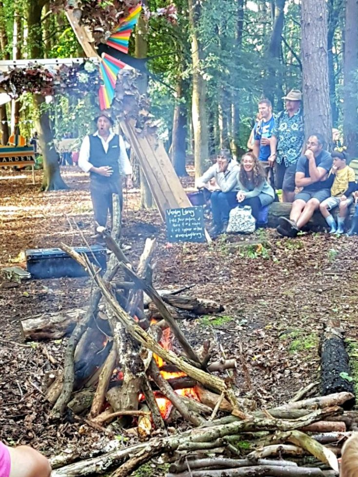 Story teller Ian Douglas telling campfire stories