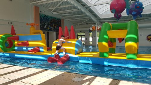 bouncy castle in a pool