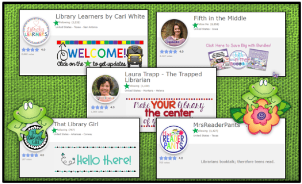 five TPT store headers featuring the sellers' green follow me stars