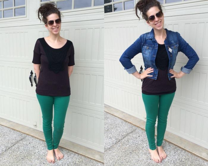 green pants