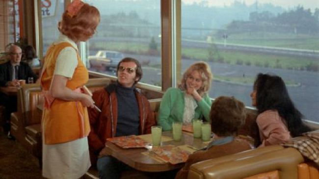 Jack Nicholson and Karen Black in Bob Rafelson's FIVE EASY PIECES (1970). Credit: Sony Pictures Repertory. Playing 2/26-3/4.