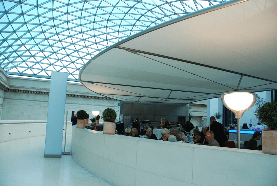 Diners at British Museum Great court  restaurant under Norman Foster glass ceiling
