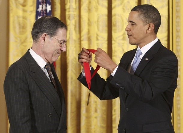 President Obama presents the 2009 National Humanities Medal to Philippe De Montebello in Washington