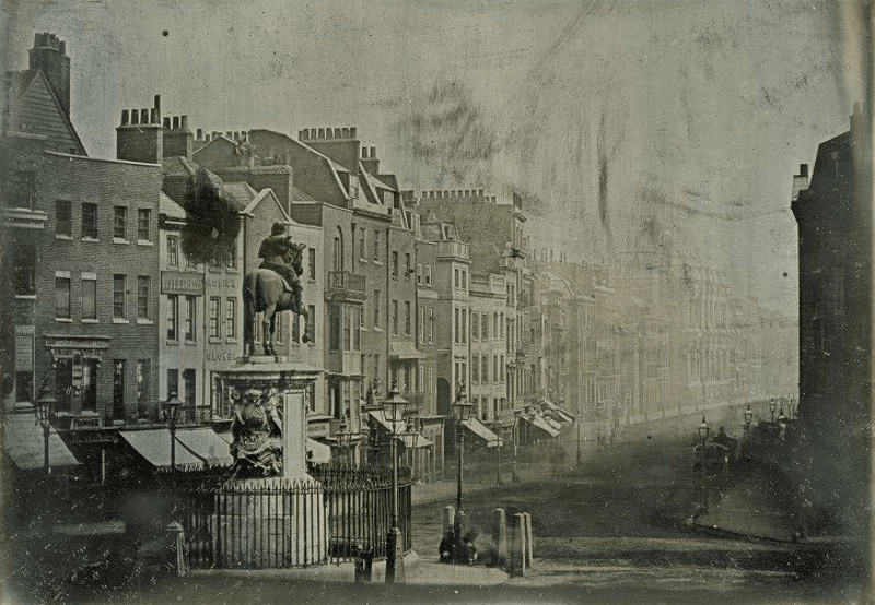 The oldest photo of london, from 1839 of the Charles I statue looking down Whitehall