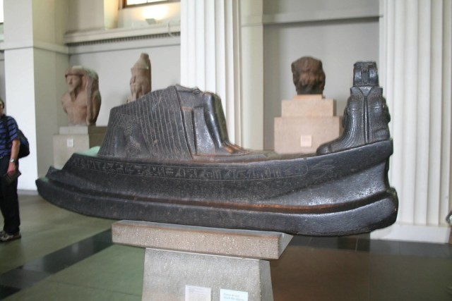 Black sculpture of Queen Mutemwia's funeral barge; British Museum Room 4