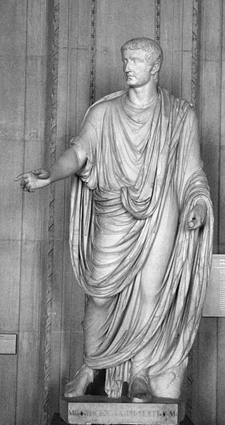 Emperor Tiberius, 6.8″ statue found in Capri, now in the Louvre