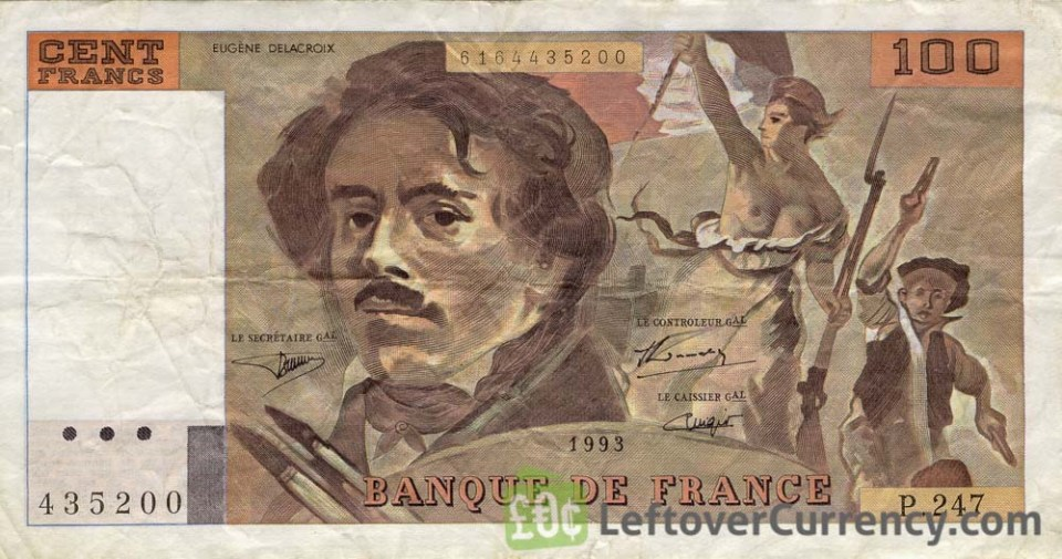100 French Francs (Eugene Delacroix) - Exchange yours for cash