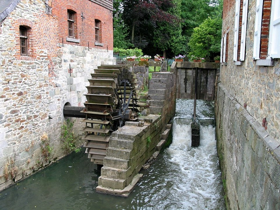A watermill from Braine-le-Château, 12th century, based on Ancient Greek technology