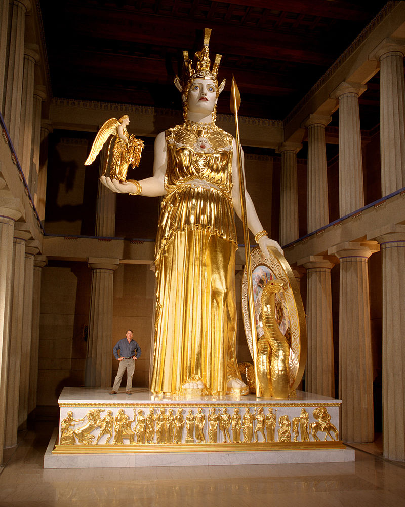 Statue of Athena holding Nike on her hand