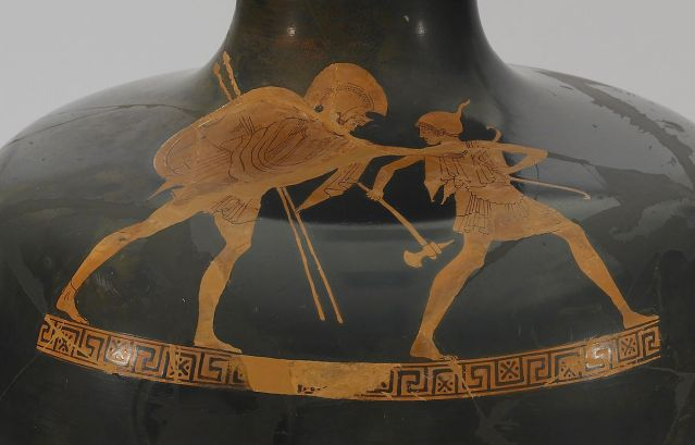 Vase with image of Theseus and an Amazon woman