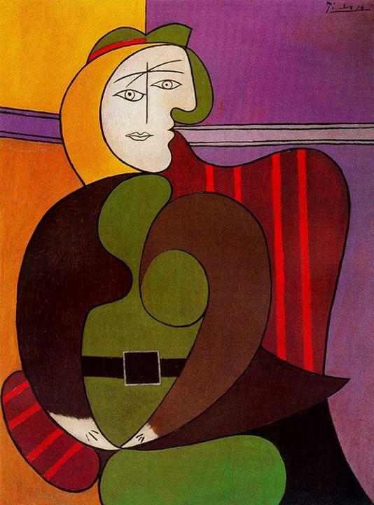 Cubist surrealist portrait of a woman by Picasso