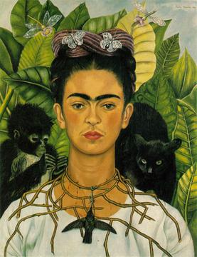 Frieda Kahlo self-portrait with monkey, hummingbird and cat