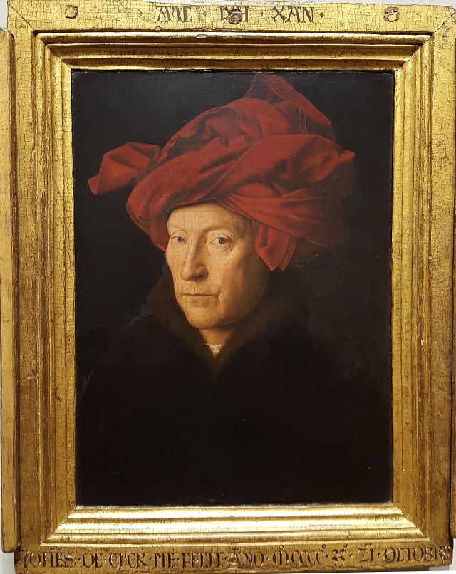 Van Eyck's framed portrait of a Man in Red Turban