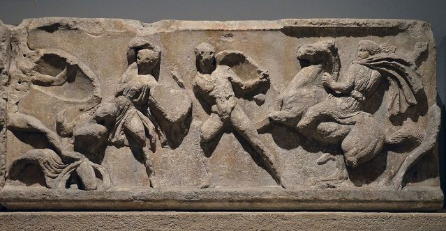 Marble slab of the Amazon frieze from the Mausoleum of Halicarnassus, at the British Museum