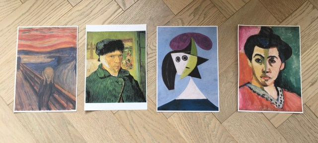 four portrait paintings by Munch, Van Gogh, Picasso and Matisse