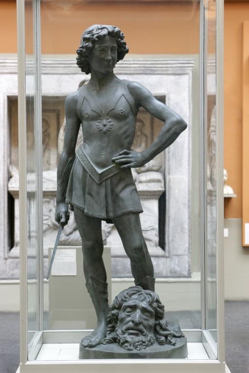 bronze sculpture of David and Goliath
