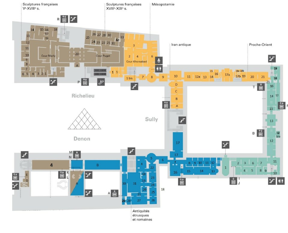 Map of the Louvre Museum in Paris