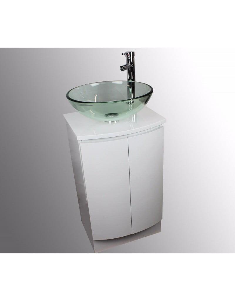 necht 42cm bathroom cloakroom countertop clear or aquamarine glass basin sink bowl