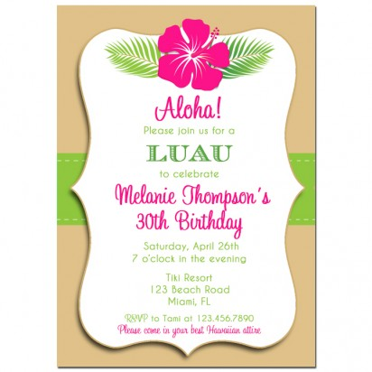 Luau Invitation By That Party Chick Hibiscus Sand Colleciton