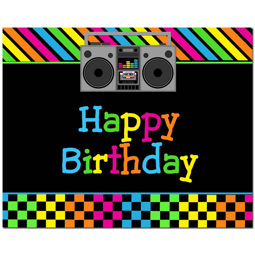Happy Birthday 80 S Party 8x10 Sign By That Party Chick Totally Awesome 80s Collection