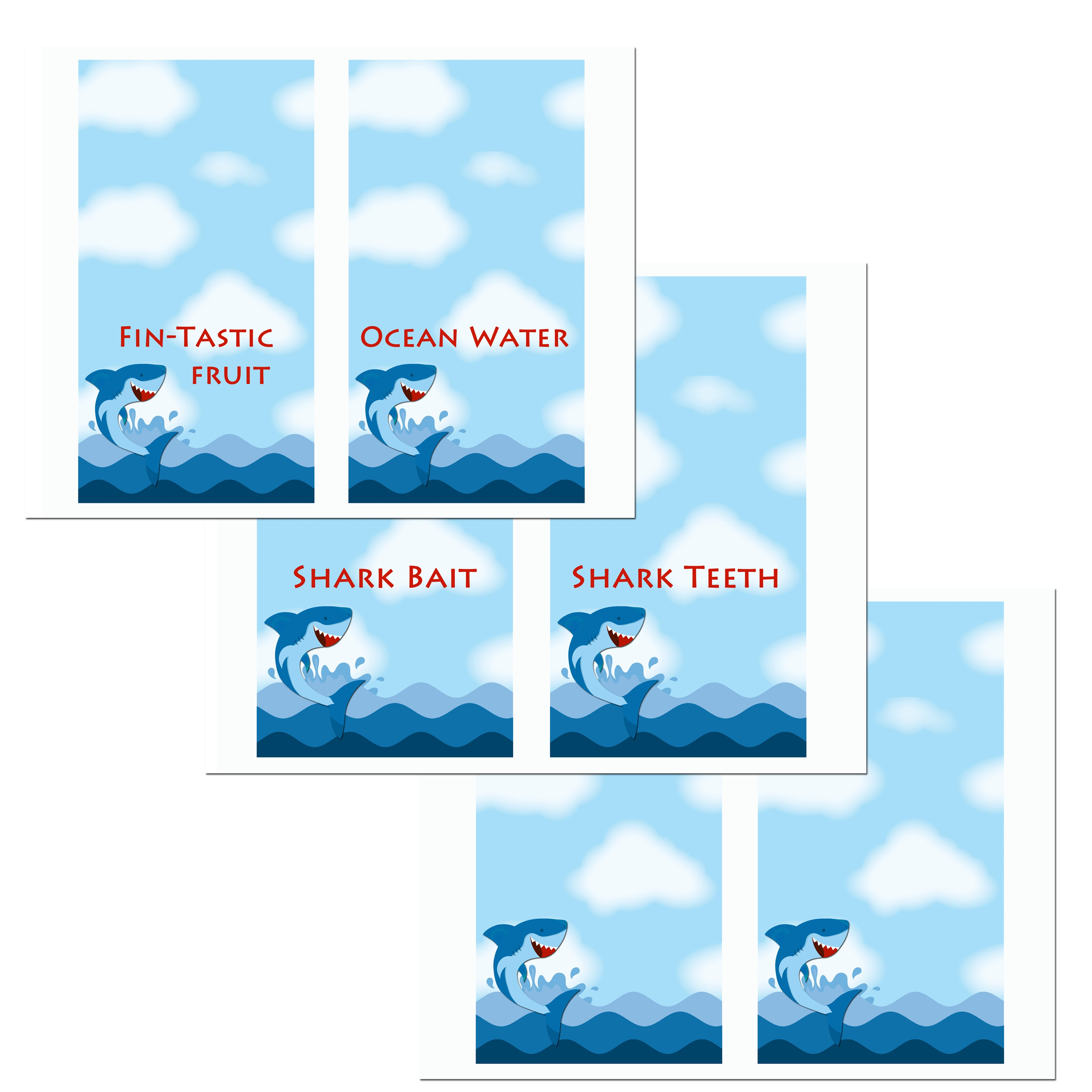 Shark Jumping Birthday Party Tent Style Food Labels By
