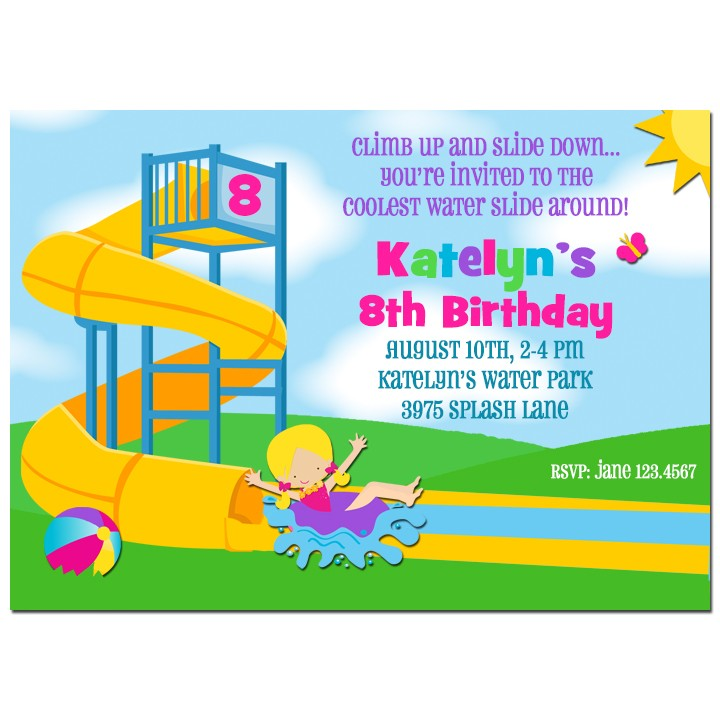 girl s water park party invitation by