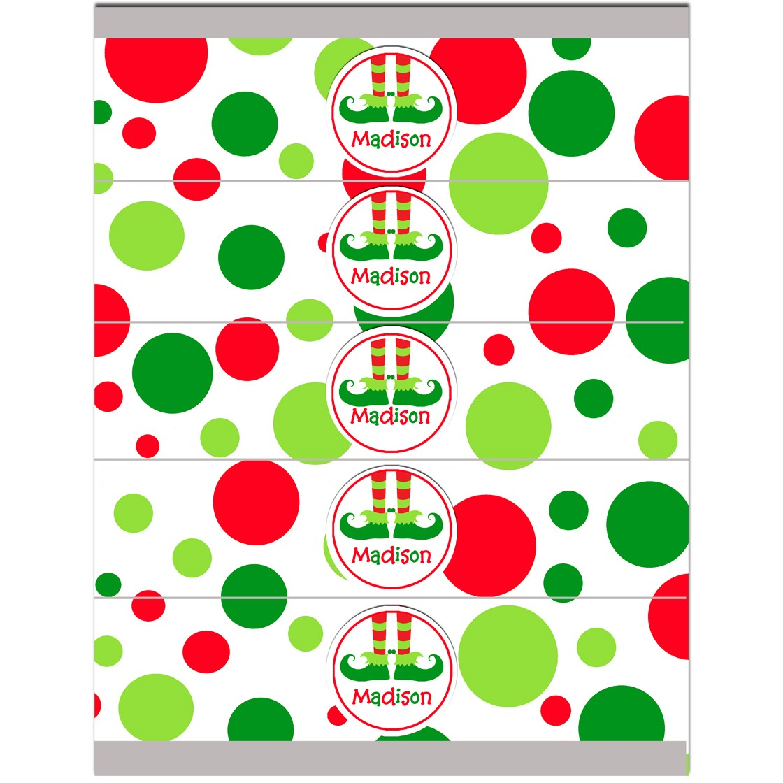 Christmas Elf Feet Personalized Water Bottle Labels By