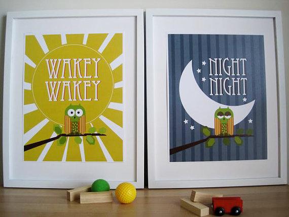 Etsy - Wakey Wakey Night Night Prints for the Nursery