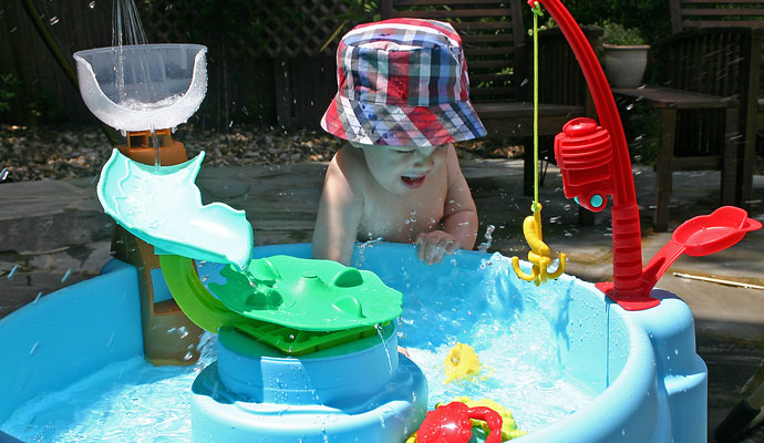 Splashing in the Little Tikes Fish 'N Splash Water Table