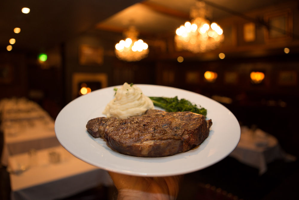 Clyde's prime rib steak