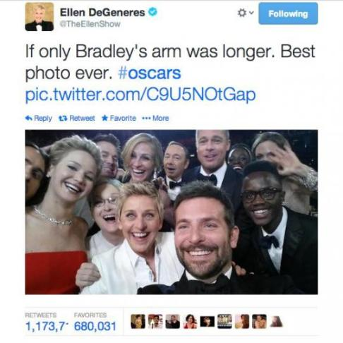 Ellen Oscar Selfie, Oscars 2014, Academy Awards