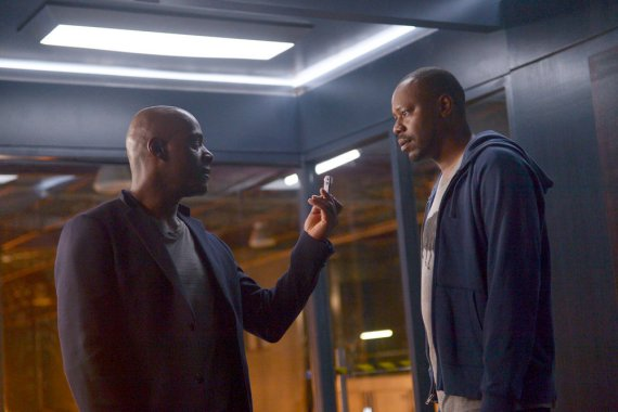 """TIMELESS -- """"The Assassination of Abraham Lincoln"""" Episode 101 -- Pictured: (l-r) Paterson Joseph as Connor Mason, Malcolm Barrett as Rufus Carlin -- (Photo by: Sergei Bachlakov/NBC)"""