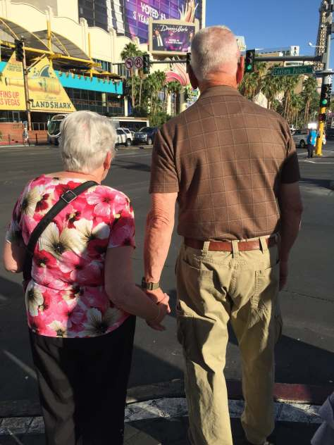Marilyn, John walking the streets of Vegas
