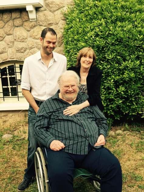 Ron, Karen, Dreux, at home in France, 2015
