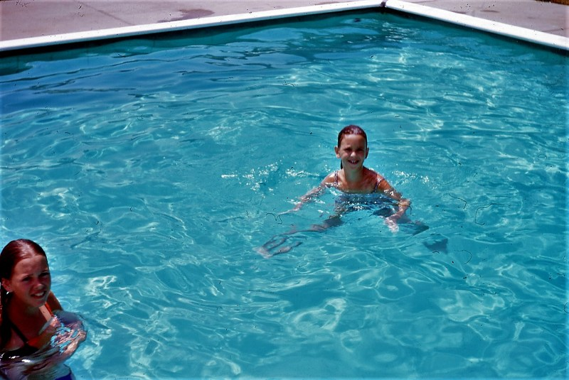 Kim, Sue in the campground pool on vacation