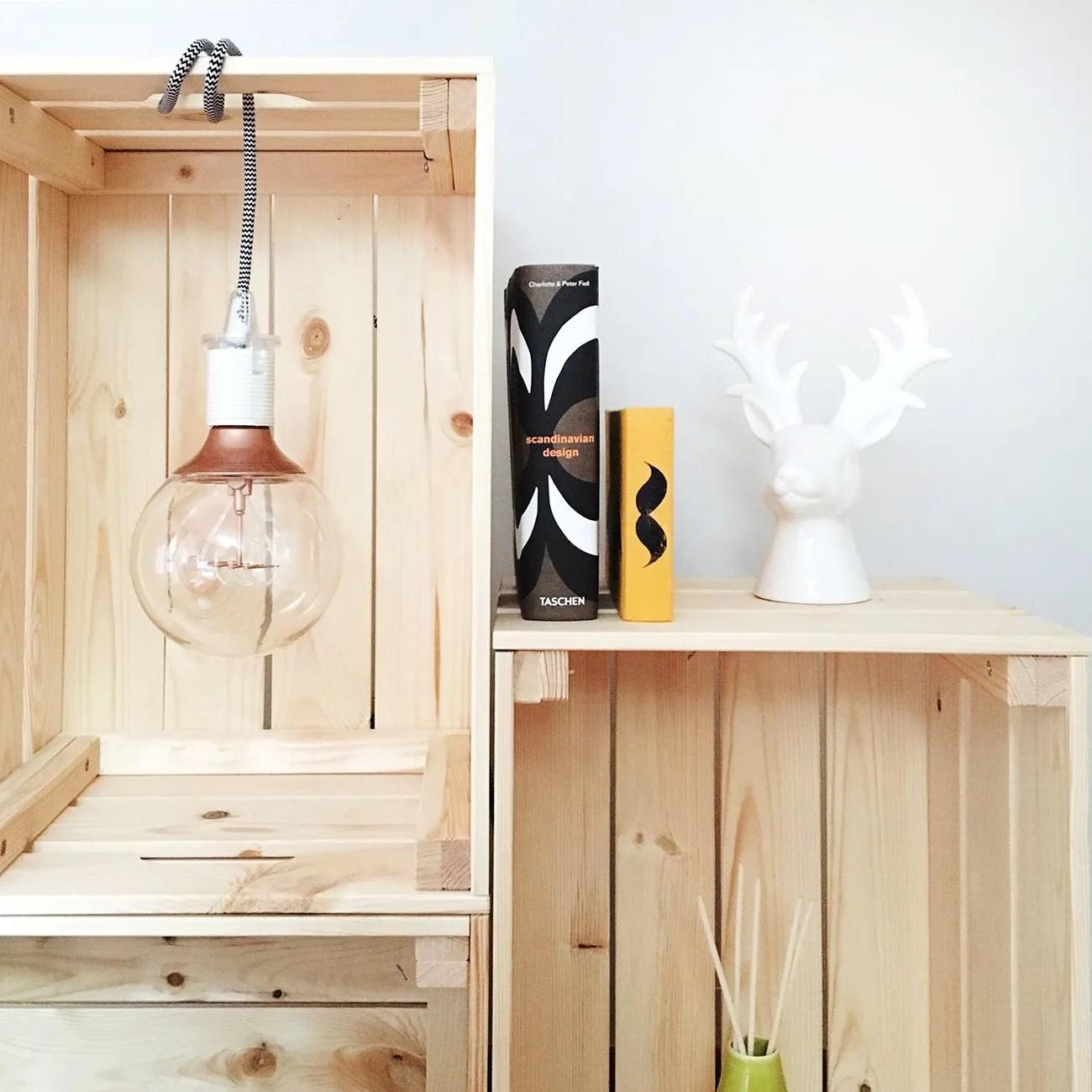 diy storage with hanging light bulb