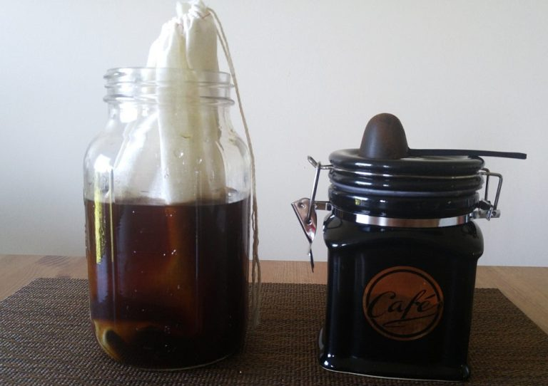 Immersion Cold Brew with a fabric filter in a mason jar