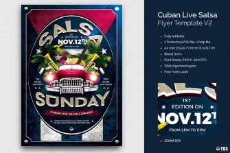 Cuban Live Salsa Flyer Template V2, Latin Salsa flyers psd