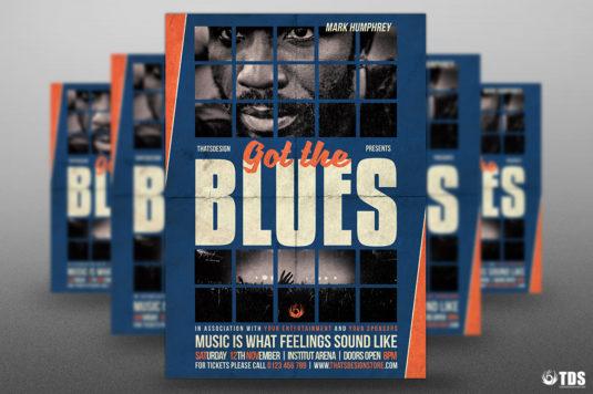 Got the Blues flyer Template psd