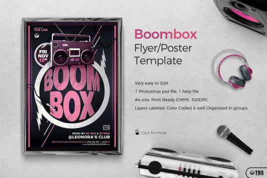 Boombox Flyer Template PSD