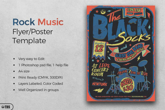 Rock Music Flyer Template PSD for Photoshop