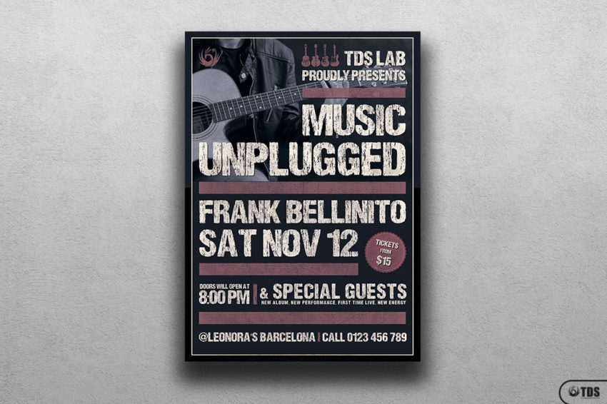 Music Unplugged Flyer Template PSD for Photoshop